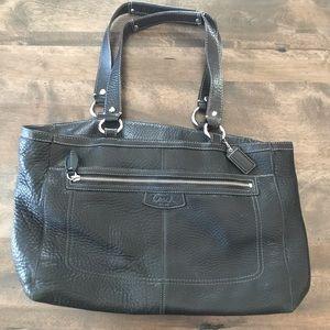 Coach black leather tote bag C1082-F14684